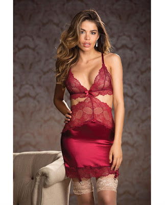 Holiday Stretch Lace Chemise
