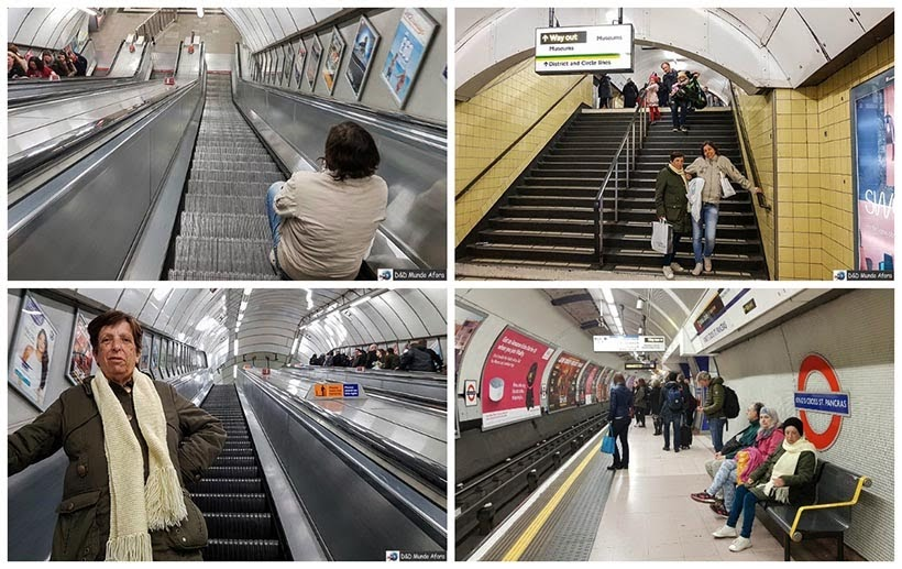 Escadarias nos metrôs de Londres - Diário de Bordo - 5 dias em Londres
