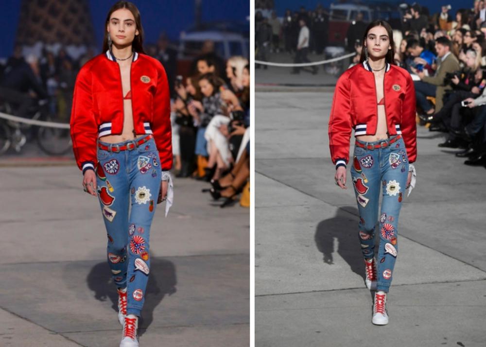 Jeans mit Patches bei der Frühjahr/Sommer 2017 Show von Tommy Hilfiger in Venice Beach