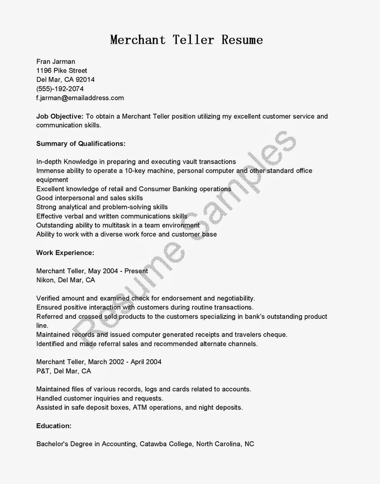 resume for bank teller supervisor