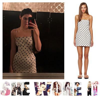 Free People, Kendall Jenner, Polka Dot, Black, White, Bandeau Dress, Mini Dress, Kardashians