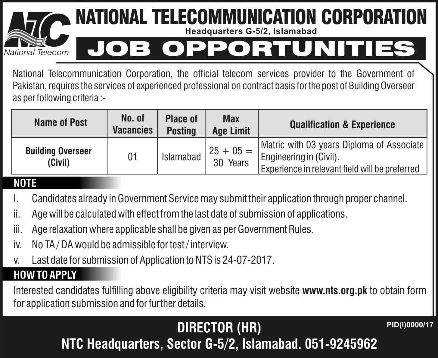NTC Jobs in National Telecommunication Corporation Islamabad July 2017