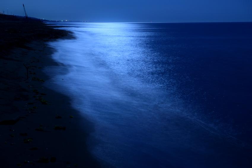 波打ち際の月光写真