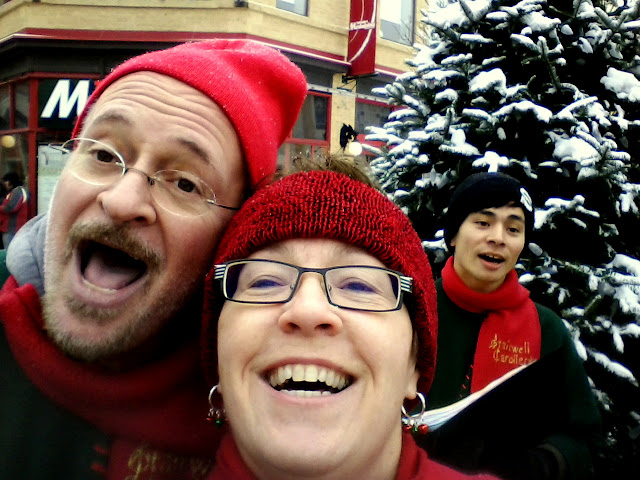 Me and some guy carolling in the Byward Market