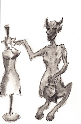 Devil Shopping for a Blue Dress, a drawing by F. Lennox Campello