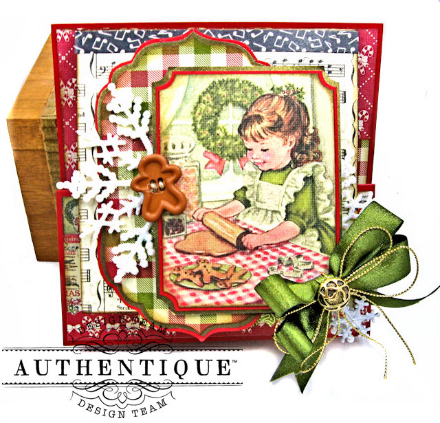 Authentique Vintage Christmas Z Fold Cards 3 Ways Tutorial by Kathy Clement Product by Authentique Photo 5