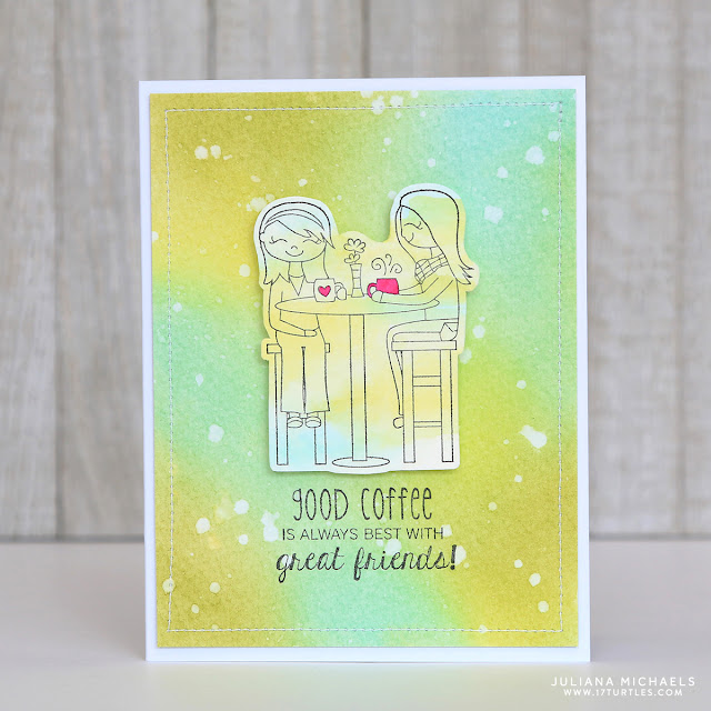 Good Coffee Is Always Best With Great Friends Card by Juliana Michaels featuring Taylored Expressions Stamps, Ranger Distress Ink and Therm O Web Adhesives