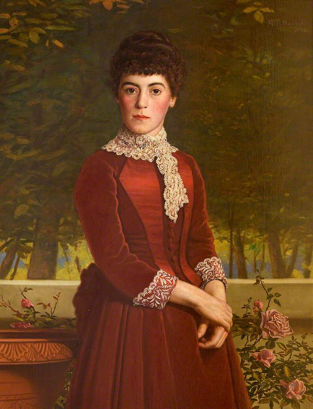 George Frederick Harris - Portrait of a Woman in Red