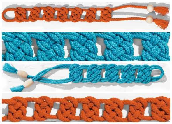 pulseras macramé, brazaletes nudos, manualidades, bisutería