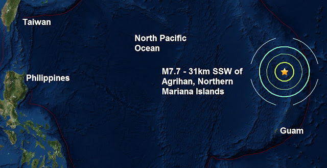 A monster quake, magnitude 7.7 strikes - 31km SSW of Agrihan, Northern Mariana Islands  Untitled