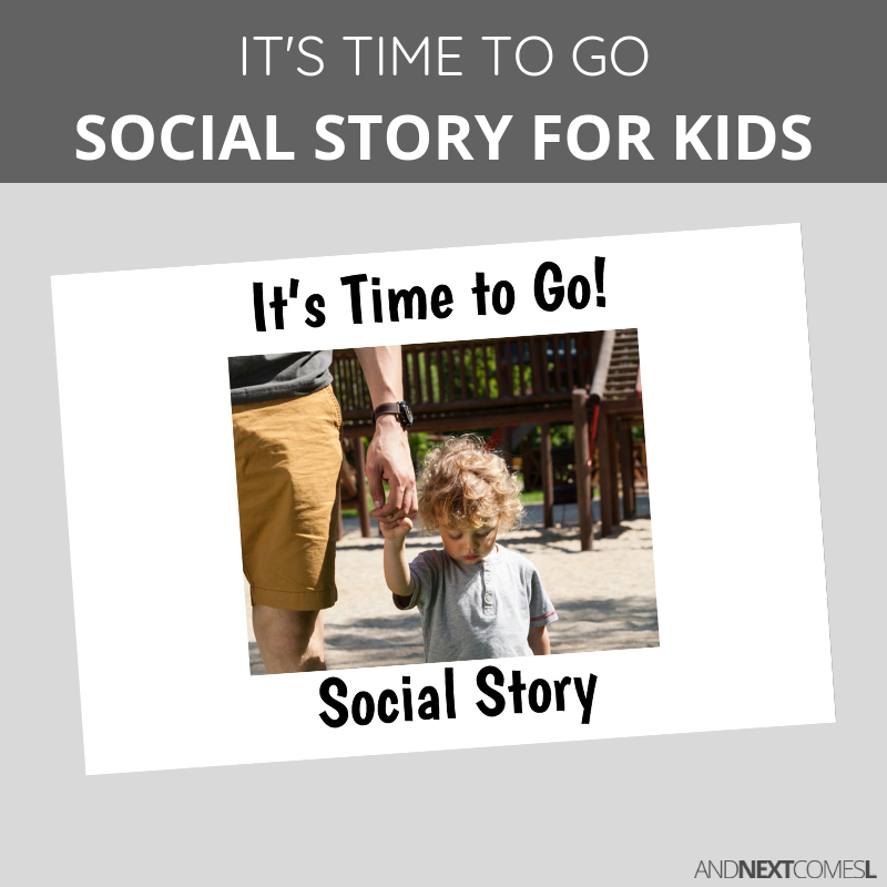 Printable social story for kids with autism about leaving the playground or leaving a play date