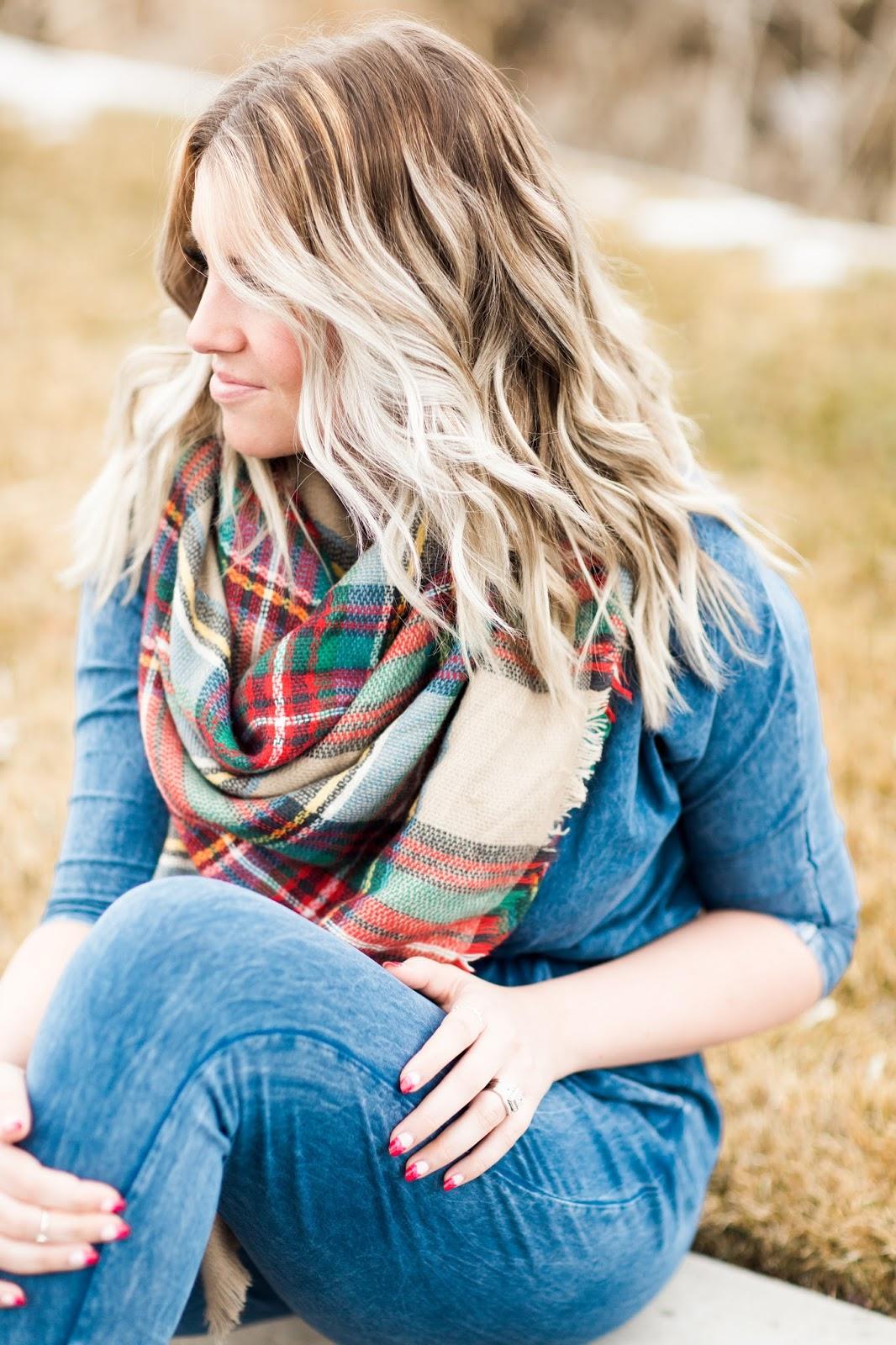 Balayage Hair, Utah Fashion Blogger, Plaid Scarf, Brina Box