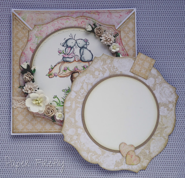 Romantic criss cross card with mouse couple