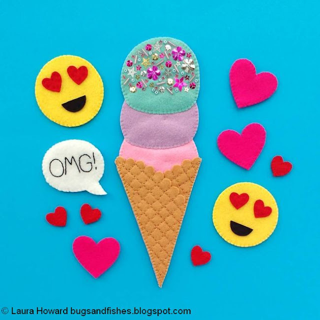 felt ice cream, hearts and heart-eye emojis