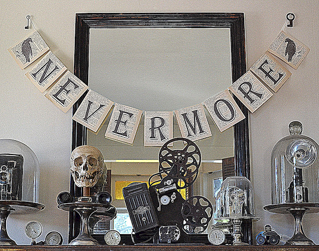 DIY: Halloween Mantle with Book Page Pennant Garland | Jennuine