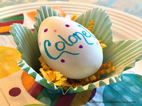Use a decorate egg as place cards from Walking on Sunshine