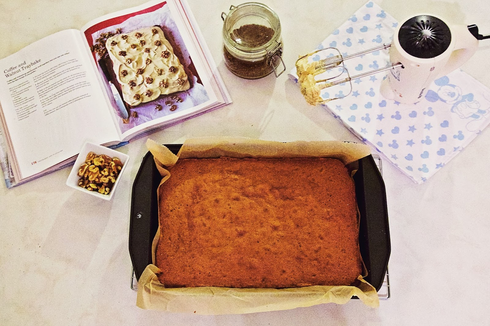 Preparation for Mary Berry's Coffee and Walnut Traybake.