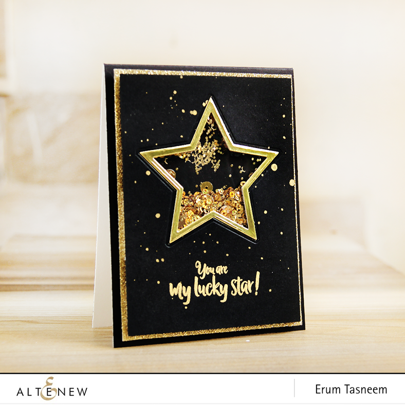 Halftone Stars Stamp and Diw set Blackand gold Shaker card | Erum Taseem | @pr0digy0