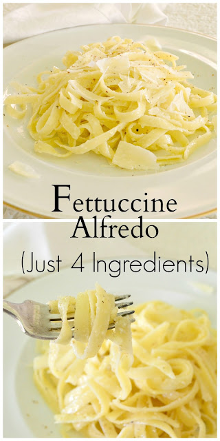 Fettuccine Alfredo is made with just 4 ingredients according to a famous Italian chef. She is right. Everyone loves it. #pasta #fettuccinealfredo #entrees www.thisishowicook.com