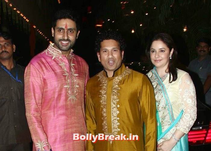 Abhishek Bachchan, Sachin Tendulkar, Anjali Tendulkar, Photos from Amitabh Bachchan's Diwali Bash 2014