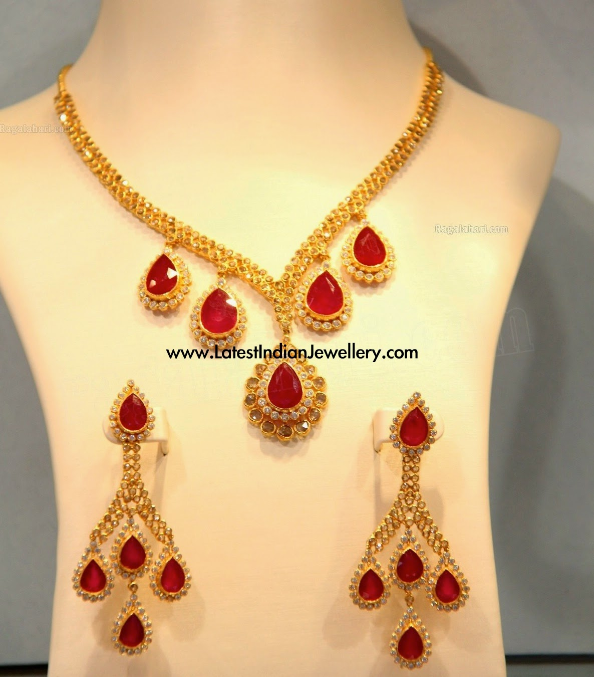 Diamond Ruby Drops Necklace