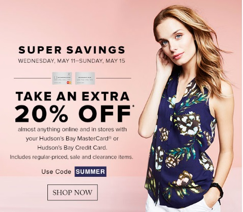 Hudson's Bay Super Savings Extra 20% off Promo Code