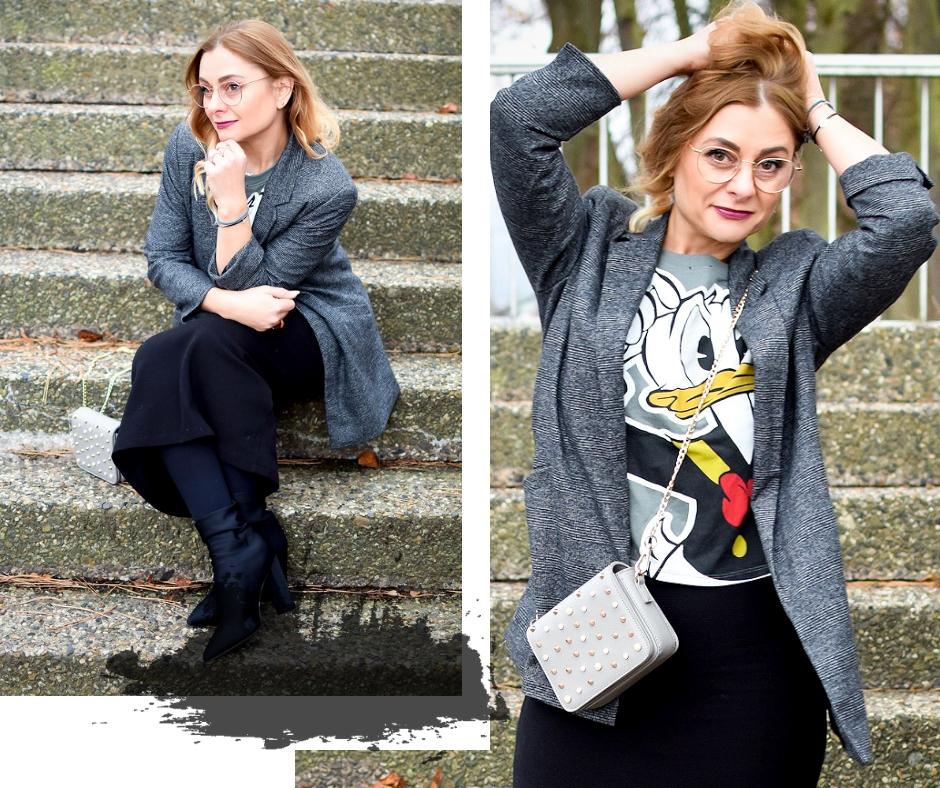 Modeblogger, Karoblazer, Donald Duck T-Shirt