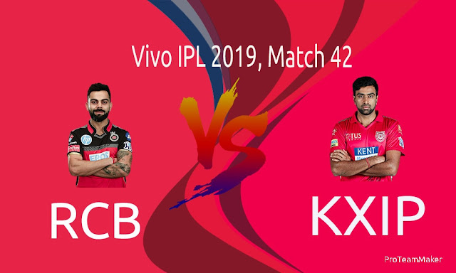 IPL 2019 RCB vs KXIP Dream11 Fantasy Team for Grand League, Playing XI
