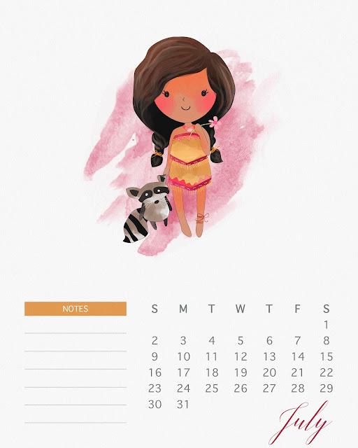Calendario 2017 de las Princesas Disney para Imprimir Gratis  Julio.