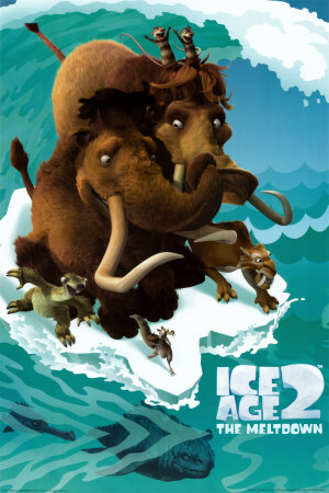 Manny and Ellie on an ice floe in Ice Age: The Meltdown animatedfilmreviews.filminspector.com
