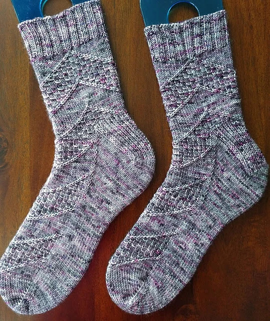 Adult sized, textured socks knit with speckled yarn.  Free pattern on Ravelry.