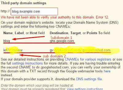 Way of setting in Blogger Custom Domains 1and1