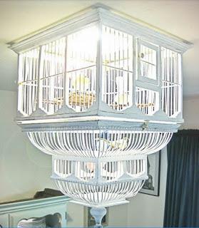jaula de pájaros vintage reconvertida en lampara