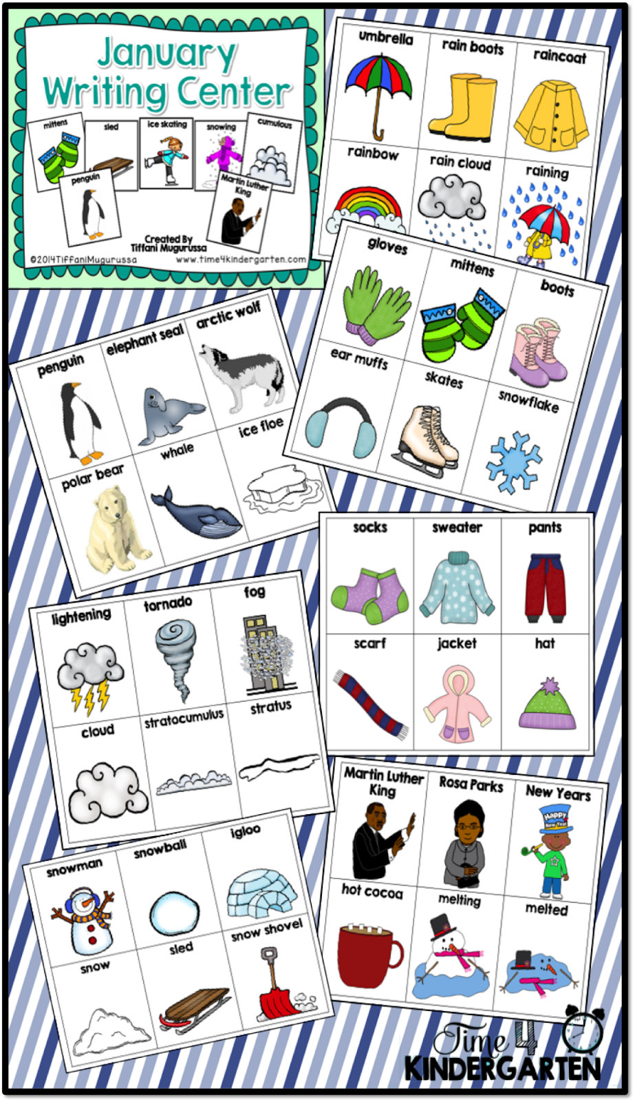 writing center, kindergarten writing, word wall cards, January word wall
