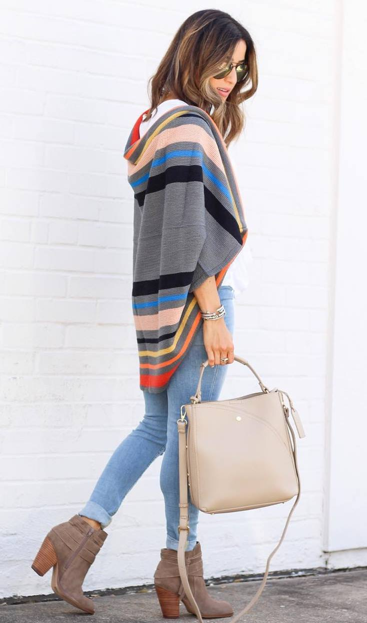 fall trends / boots + bag + skinny jeans + cardigan