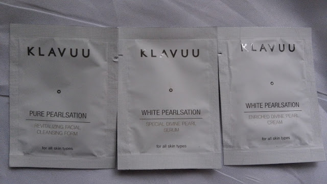 klavuu Pure Pearlsation Revitalizing Facial Cleansing Form, White Pearlsation Special Divine Pearl Serum, White Pearlsation Enriched Divine Pearl Cream.