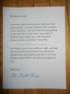 Brief der Zahnfee zum Aufräumen