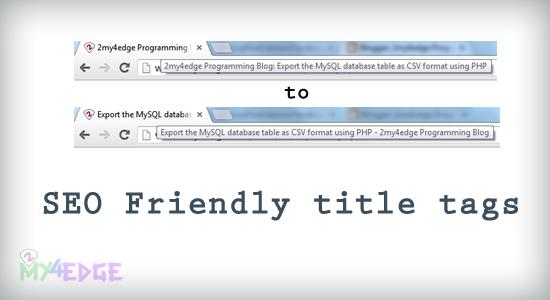 SEO friendly title tag