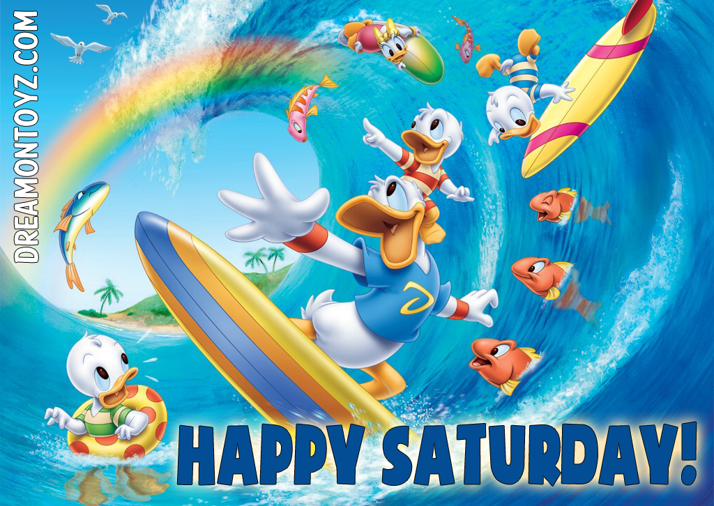 Donald Duck Surfing With Daisy And His Nephews, Huey
