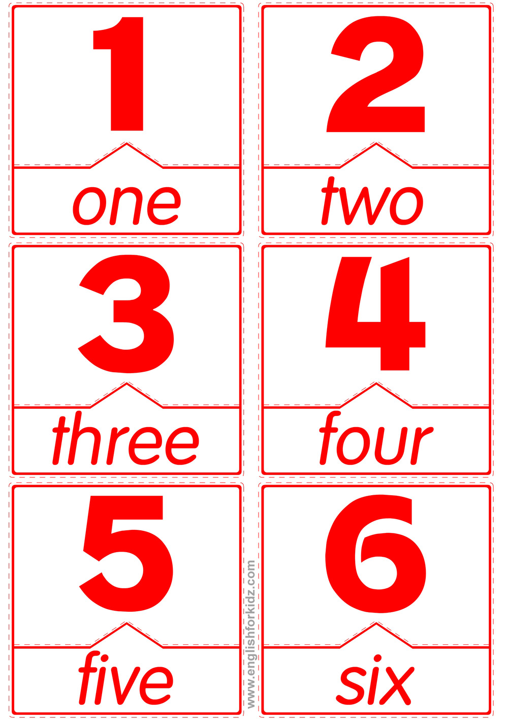 photo about Printable Number Flashcards named Matching Phrases in direction of Figures Flashcards