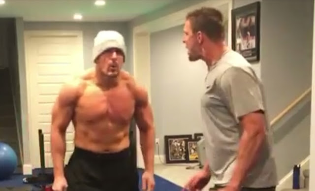 gronk is getting ready for the nfl season by slapping