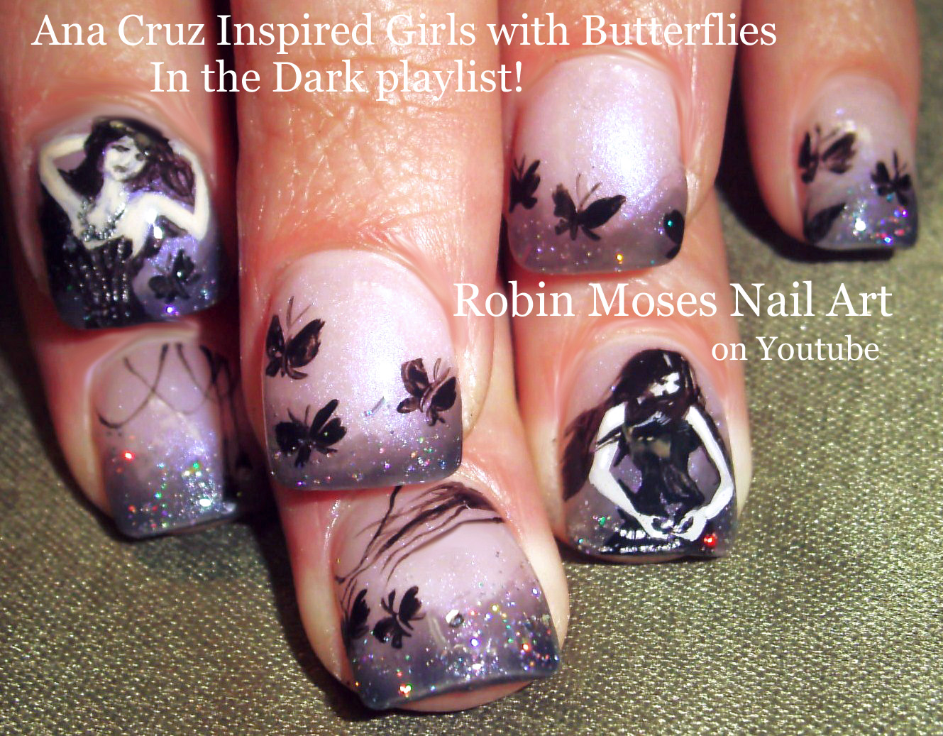 Nail Art by Robin Moses: Green Fairy Butterfly Moth Nails \