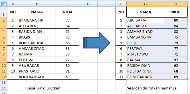 sort a to z Ms excel