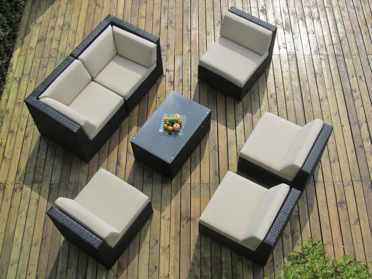 Ohana Collection Outdoor Sectional Sofa and Chaise Lounge Set