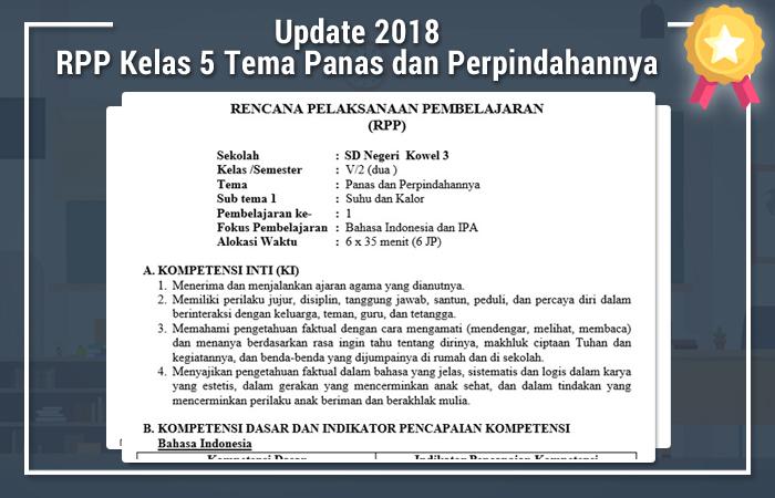 RPP Kelas 5 Tema Panas dan Perpindahannya