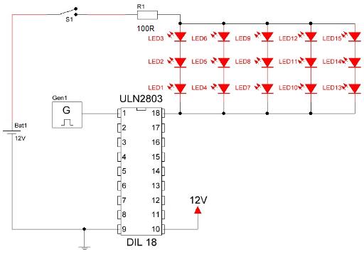 Circuito integrado ULN2803 conexión comun.