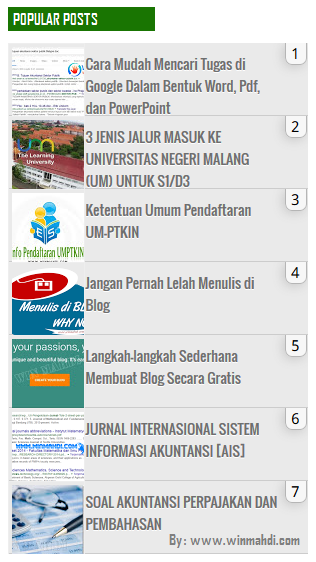 memasang widget popular posts terbaru