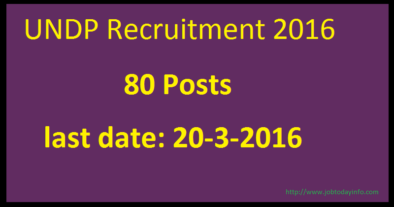 UNDP Recruitment 2016 Apply online for 80 Project Officer and Assistant posts