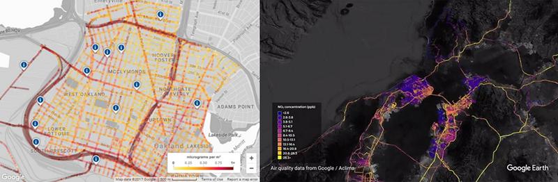 Карта загрязнения воздуха Окленда