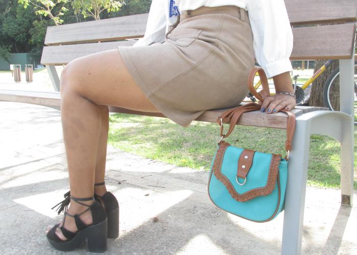 saia de suede, sandália de amarrar, sandália de salto Moleca, natália sena, parque da cidade